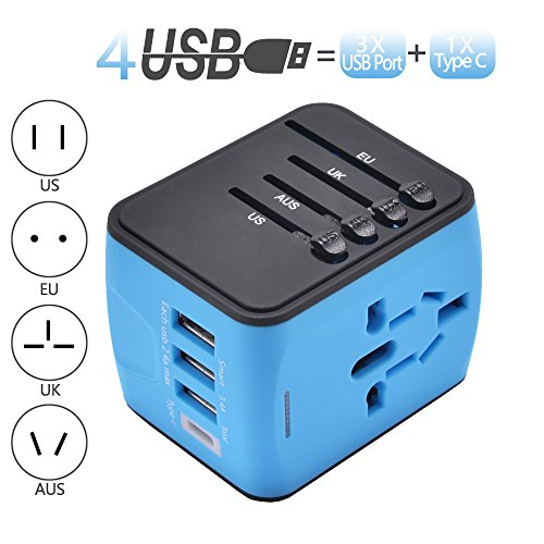 Pronghorn Universal Travel Adapter All in One Worldwide Power Adapter Wall Outlet Plugs Converter with 2.4A USB and 3.0A USB Type-C Charger for Europe UK EU US AU Asia Blue -