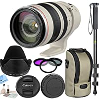 Canon Zoom Wide Angle-Telephoto EF 28-300mm f/3.5-5.6L IS USM Autofocus Lens With CS Kit: Includes E-77 II 77mm Lens Cap, Lens Dust Cap E (Rear), EW-83G Lens Hood, LZ1324 Lens Case, Strap for Case, Tripod Mount C, 3 Piece Filter Kit (UV,CPL,FLD), Full Size Monopod, Brush Blower, Cleaning Kit & CS Mcirofiber Cleaning Cloth