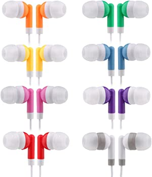 CN-Outlet Kids Bulk Earbud Headphones 50 Pack Multi Colored, Individually Bagged, Wholesale Disposable Earphones Perfect for School Classroom Libraries Students (50Mixed)