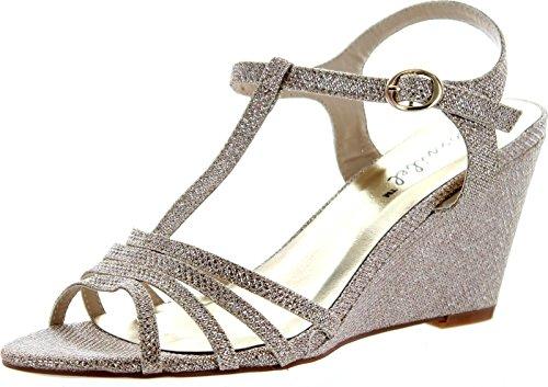 Bonnibel Womens Flosa-1 Glitter T Strap Wedge Dress Sandals,Champagne,8.5 (Champagne Wedge Sandals)