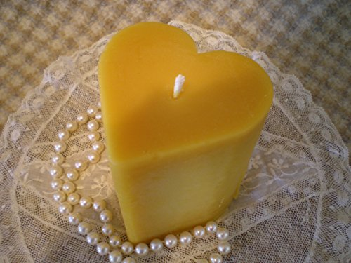 Heart Shaped Pillar Candle - Hand Sculpted Pure Beeswax Heart Shaped Pillar Candle