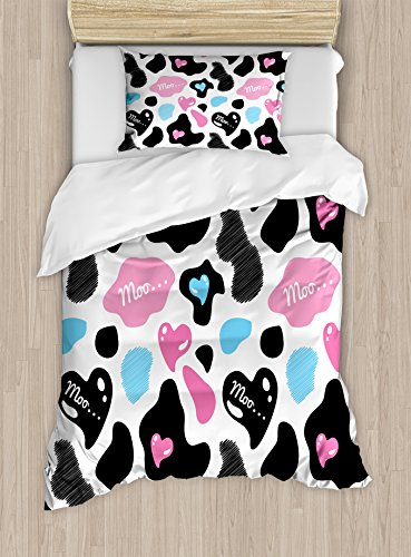 Ambesonne Cow Print Duvet Cover Set Twin Size, Cow Hide with Hearts Moo Barnyard Love Valentine's Abstract Design, Decorative 2 Piece Bedding Set with 1 Pillow Sham, Light Pink Black White,