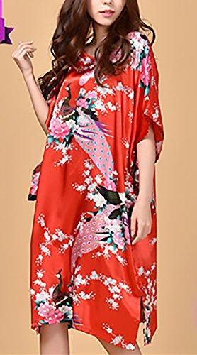 Rosso Notte Sciolto Da Pipistrello Donna Vestito Floreale Vintage Moda Camicia Pigiama Da Unique Collo Manica Rotondo Classiche Stampato Lunga Estivo OHIWUZ