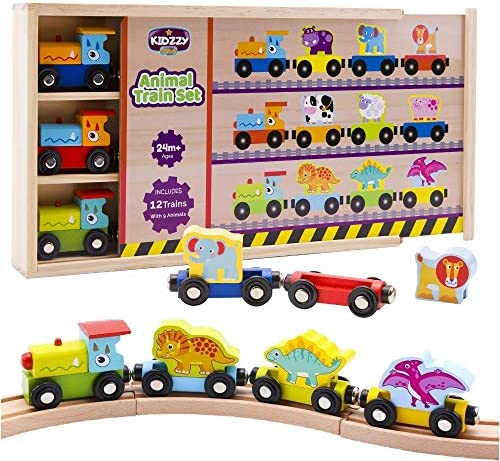 Wooden Trains Set (21 PCS)3 Dinosaurs 3 Farm 3 Zoo AnimalsBox and Cover - Train Toys Magnetic Set Toy Train Sets for Kids Toddler Gift Toy for 2 Year Old Boys and Girls and up