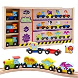 Wooden Train Set - 12 Magnetic Trains with 3 Dinosaurs - 3 Farm & 3 Zoo Animals, with Patented Animal Wagon/Rider for Wood Railway Tracks, Wooden Gift Box with Cover - Only Offered by KIdzzyToys