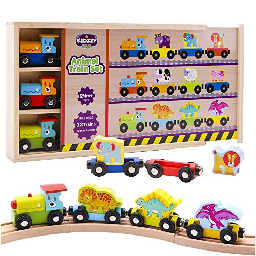 Wooden Train Set - 12 Magnetic Trains with 3 Dinosaurs - 3 Farm - 3 Zoo Animals, with Patented Animal Wagon/Rider for Wood Railway Tracks, Wooden Box with Cover - Only Offered by KIdzzyToys ()