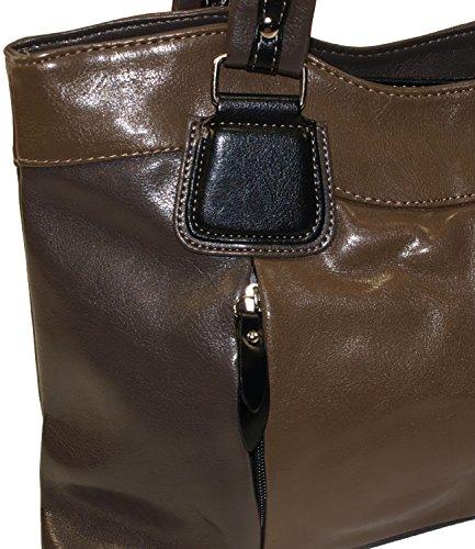 Kunstleder Damentasche Handtasche Taschen Shopper Bag Handtaschen Braun 012 gP7XnnJ