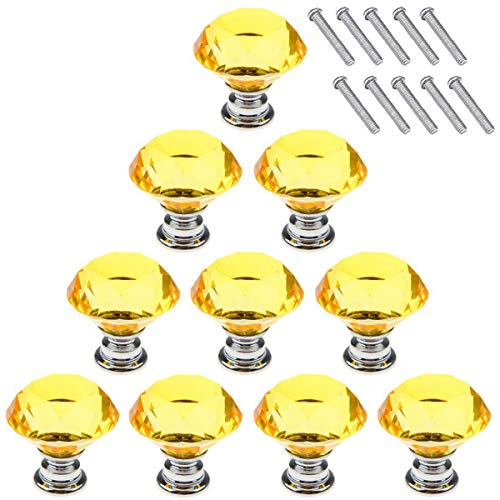 AKRover 10 Pcs Crystal Glass Cabinet Knobs 30mm Diamond Shape Drawer Kitchen Cabinets Dresser Cupboard Wardrobe Pulls Handles (Yellow)
