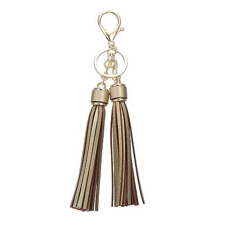 Yinew - Llavero de piel con borlas para mujer, dorado ...