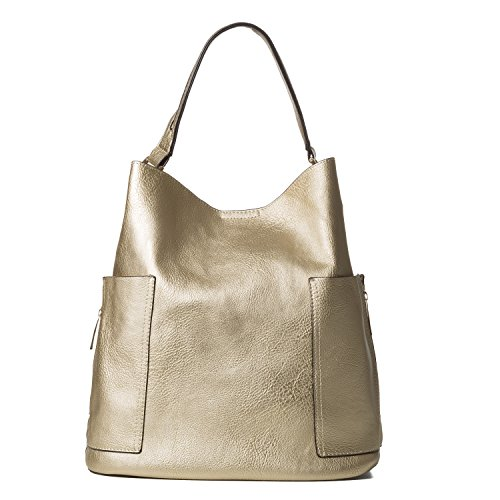 Handbag Republic Women Handbag PU Leather Top Handle Bag Korean Fashion Tote Style With Side Zipper Pouch (Light gold)