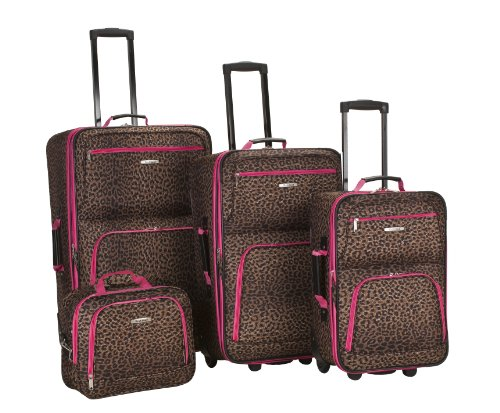 Rockland Luggage 4 Piece Luggage Set, Pink Leopard, Medium (Set Luggage 4 Piece)
