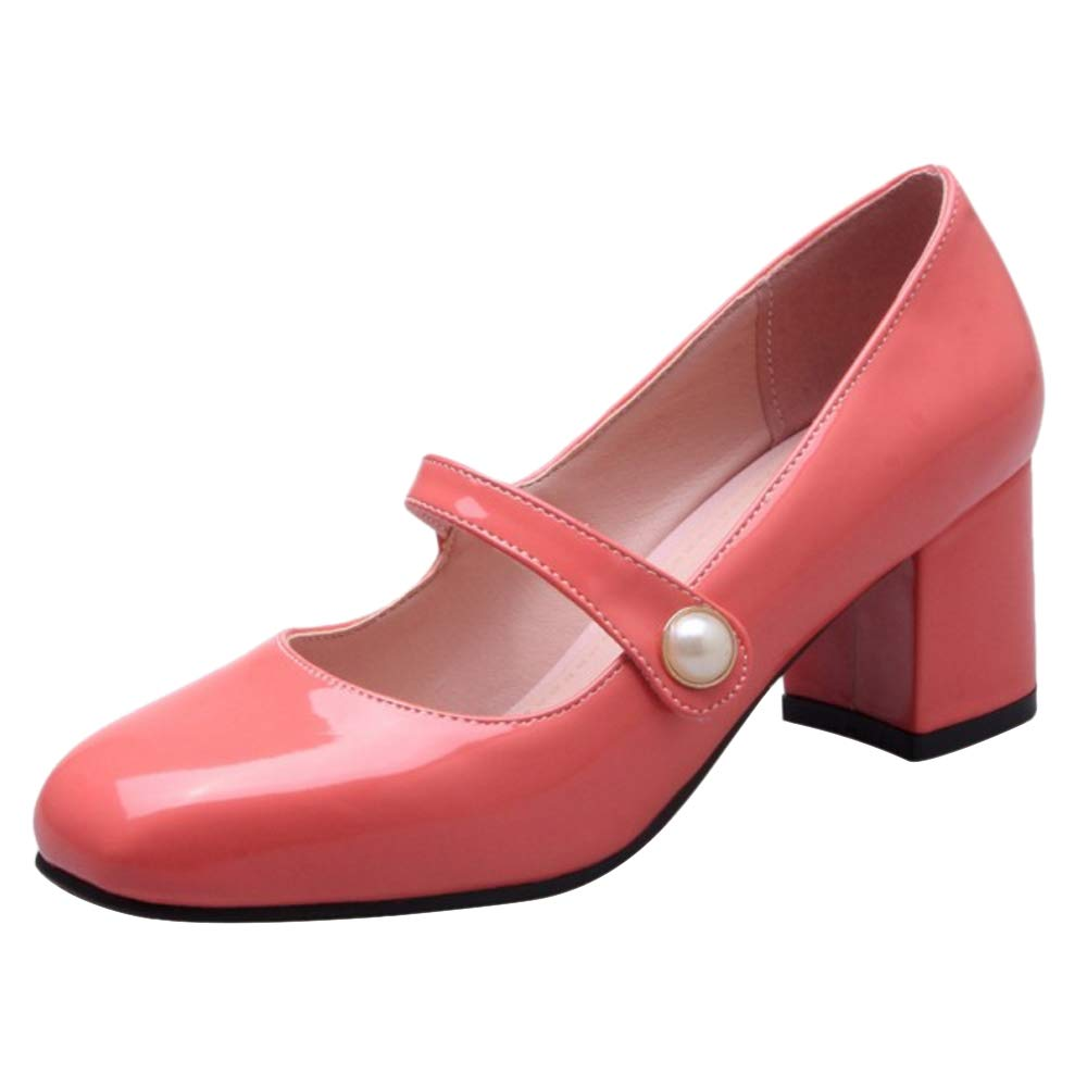 Melady Donne Tacco Blocco Mary Jane Pumps 2#cherry