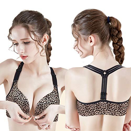 Sexy Women Leopard Print Brassiere Push Up Plus Size Underwire Bras 32 34 36 38 40 42 44 B C D E Cup Gold Leopard 40D