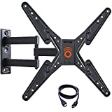 ECHOGEAR Full Motion Articulating TV Wall Mount Bracket for 26-55 Inch TVs - Features 20 Inches of Extension, 15 Degrees of Tilt, and 180 Degrees of Swivel for Flat Screen TVs - EGMF1-BK