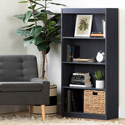 South Shore Axess 4-Shelf Bookcase, Blueberry (Navy Blue Bookshelf)
