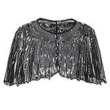 PrettyGuide Women's 1920s Shawl Beaded Sequin Deco Cape Bolero Flapper Cover Up Black Silver