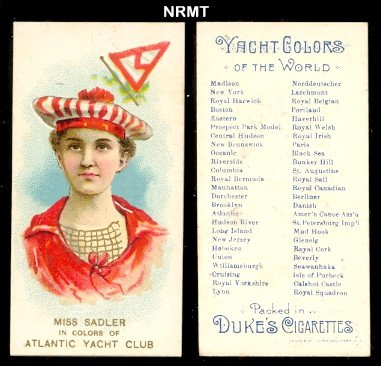 (1889 Duke N91 Yach Colors of the World (Non-Sports) Card# 2 atlantic yacht club - Miss Sadler NrMt Condition )