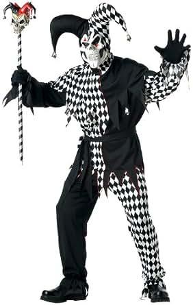 California Costumes Men's Plus Size- Black Evil Jester, Black/White, PLUS (48-52) Costume