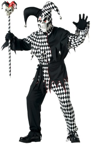 Cool Clown Costume (California Costumes Men's Adult- Black Evil Jester, Black/White, XL (44-46))