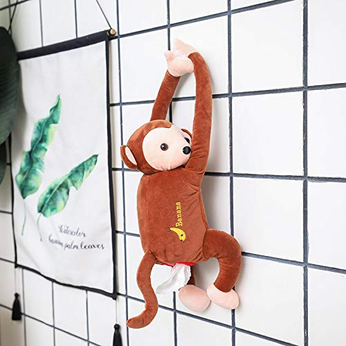 VOOADA Lovely Creative PIPI Monkey Tissue Box Cute Monkey Home Office Car Auto Automobile Tissue Boxes Cover Napkin Paper Towel Holders Cases Car Organization (Brown)