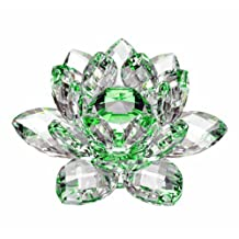 "Amlong Crystal High Quality Hue Reflection Lotus Flower with Gift Box, 3"", Green"