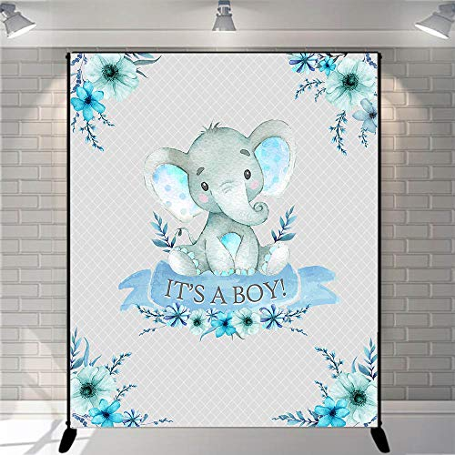 Mocsicka Boy Elephant Baby Shower Backdrop It's a Boy Photography Background 5x6ft Vinyl Blue Elephant Baby Shower Banner - Boy Vinyl