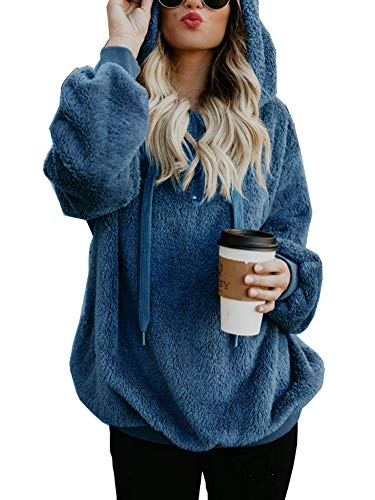 Blue Denim Jumper - NVXIYYA Women Long Sleeve Sherpa Fleece Slouchy Loose Fit Sweatshirts Jackets Hoodies with Pockets Denim Blue L