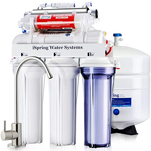 iSpring RCC7AK-UV 75GPD 7-Stage Under-Sink Reverse Osmosis RO Drinking Water Filtration System with Alkaline Remineralization Filter and UV Sterilizer