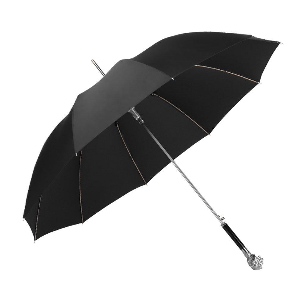 YTSZM Umbrella Long Handle Business Straight Bar British Style Lions Head Creative Men's and Women's Double (Color : Black)