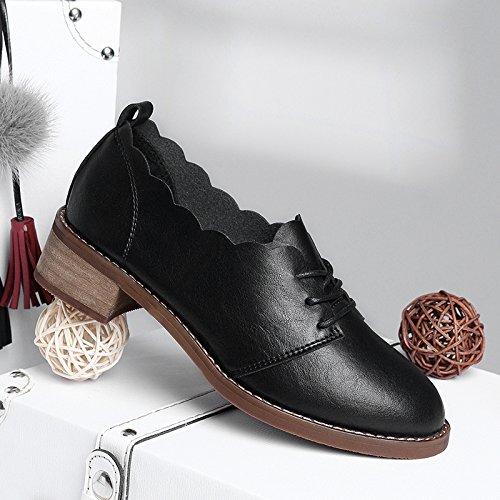 KPHY-Mode Schuhe Schwarze Schuhe Flache Meine Schuhe Mit Dicken Frühling Alle Treffer Gezeiten Flache Schuhe Schuhe. 40 Schwarz - 1ab09a