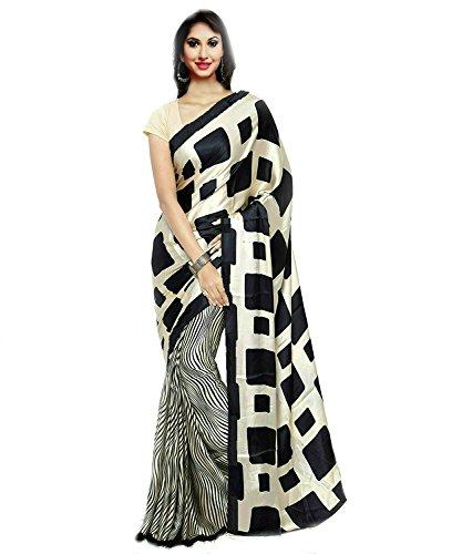 Jaanvi Fashion Designer Black & Beige Italian Crepe Printed Saree with Blouse (Saree Designer Black)