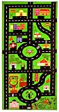 City Theme Kids Play Rug - Play Mat - Area Rug - Carpet -Extra Large - 79 x 39 inches - Perfect Size Roads for Miniature Cars - Hot Wheels - Matchbox, Detailed, Bright Colors.