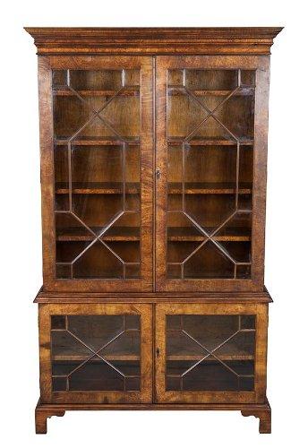 English Walnut and Glass Door (Glass Walnut Bookcase)
