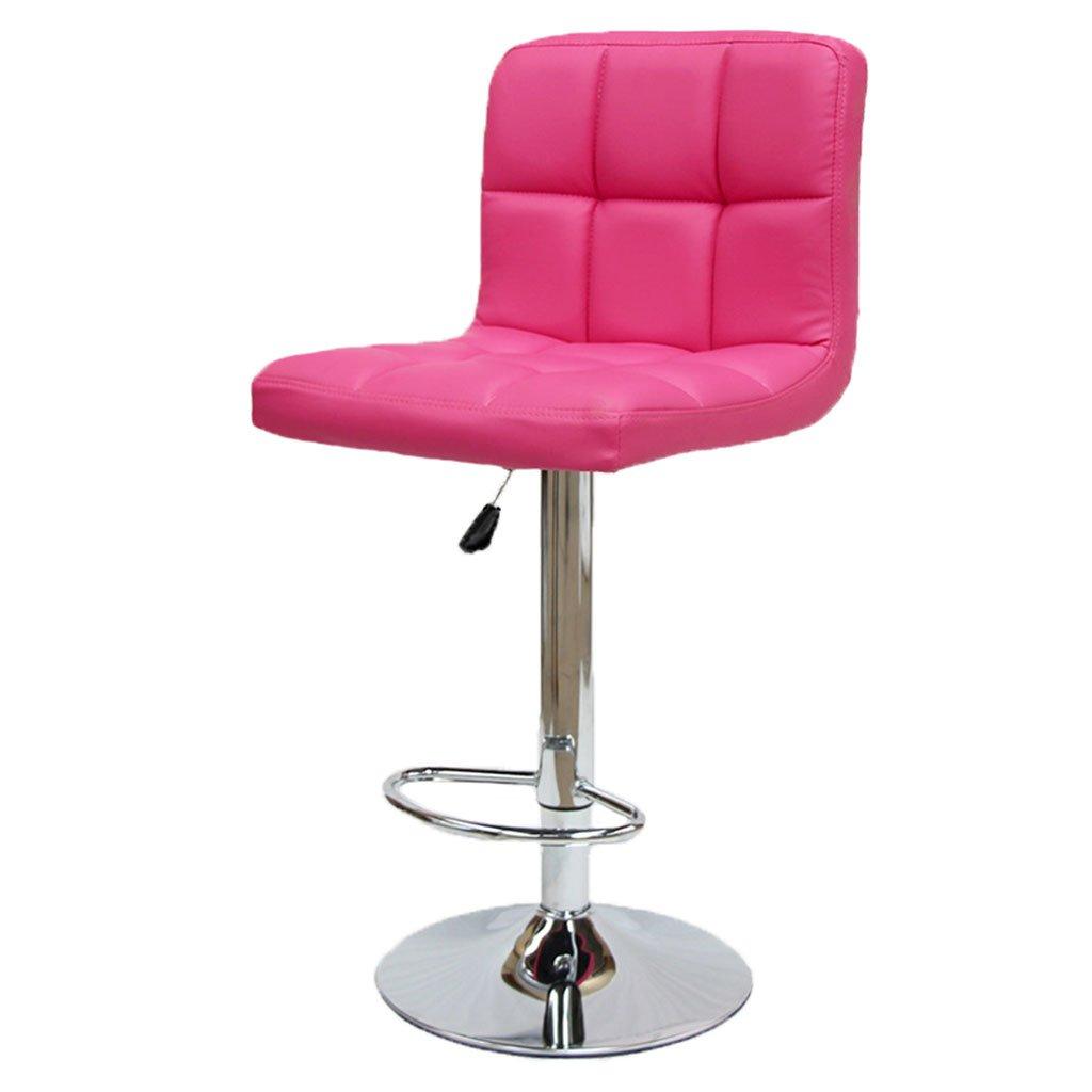 背もたれを備えたブレックファーストバースツール、360°回転ペダル調節可能なフェイクレザーキッチンチェア、6185 Cm高さ,Pink B07D7VN3JX Pink Pink