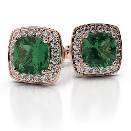 Or Rose 18carats 0,26CT G-H/VS sertie de diamants en forme de coussin Émeraude et boucles d'oreilles Ager-1061