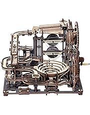 ROKR Marmeren Run Houten Model Kits voor Volwassenen Kids Hand Gekruld Mechanische Gear 3D Houten Puzzel Bouw kits met 10 Stalen Ballen, Marmeren Night City