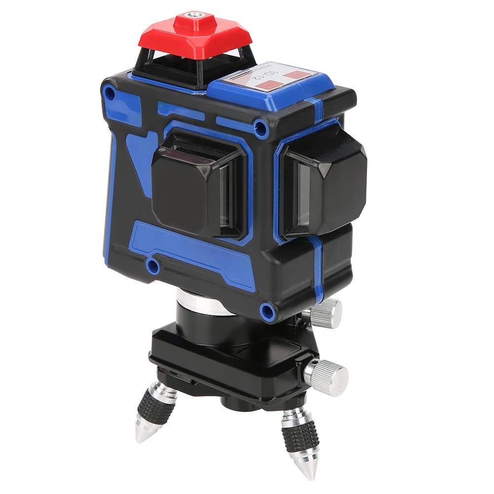 Niveau laser 360 Degrés 12 Lignes, 3D Niveau laser Vert Horizontal et Verticale à 360 degrés Imperméable à l'eau et Anti-poussière avec Prise Européenne 220V (avec Batterie) Hilitand