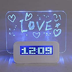 2066864 Alarm Clock with Memo Board LED Digital Alarm Clock Date Clock Thermometer + Fluorescent Memo Board + Highlighter, (Blue Light)