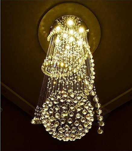 Moooni Modern Double Spiral Crystal Chandelier Lighting for Foyer Staircase Hallway D 23.6 x 99 H