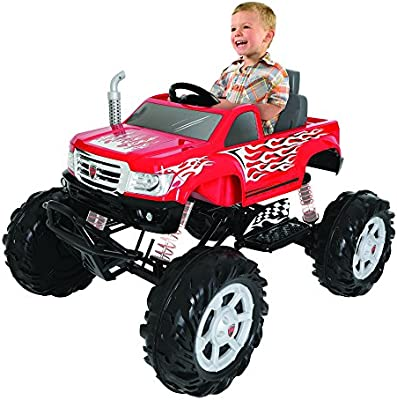 Com Rollplay 24 Volt Monster Truck Ride On Toy Battery Powered Kid S Car Red Toys Games