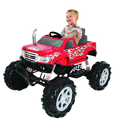 Rollplay 24 Volt Monster Truck Ride On Toy, Battery-Powered Kid's Ride On Car, Red