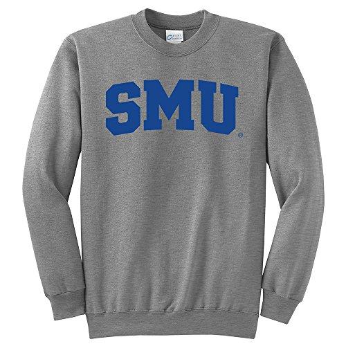 Campus Merchandise NCAA SMU Mustangs Arch Classic Crewneck Sweatshirt, Medium, Light Heather Grey
