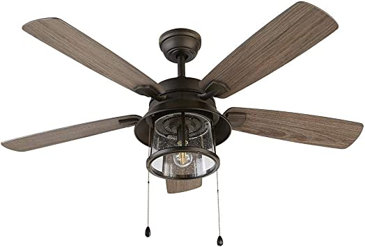 """52"""" Ceiling Fan with Light Kit and Remote Downrod Mount Indoor Outdoor Bronze"""