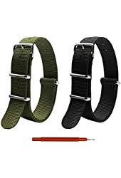 2pc 18mm Nato Ss Nylon Striped Black, Army Green Interchangeable Replacement Watch Strap Band