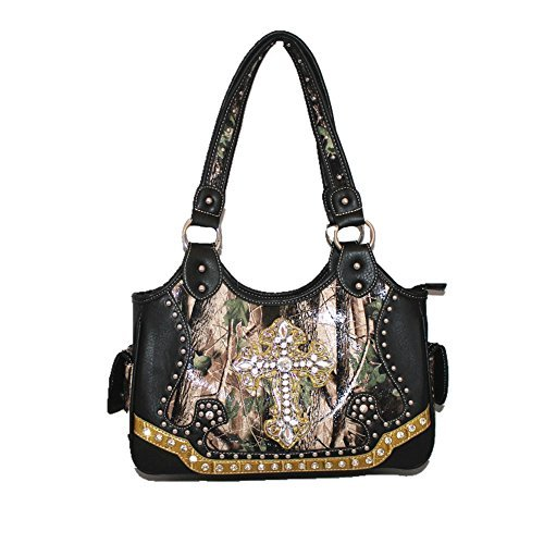 2015 New Style Rhinestone Buckle Concho Concealed Carry Cross Camouflage Leather Shoulder Handbag Purse and Optional Messenger Bag, Walletin 3 Colors. Black (Black)