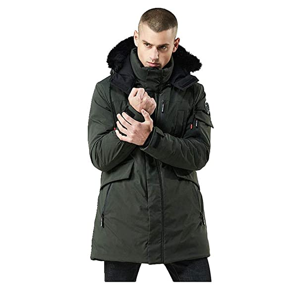267f1f03c6144 Amazon.com: WEEN CHARM Men's Warm Parka Jacket Anorak Jacket Winter Coat  with Detachable Hood Faux-Fur Trim: Clothing