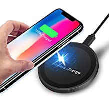 Wireless Charger, Amoner iPhone X Wireless Charger, Fast Wireless Charger Charging Pad for iPhone X/8/8 plus, Samsung Galaxy S9/S9 plus/ S8/ S8 plus/ S7, No AC Adapter