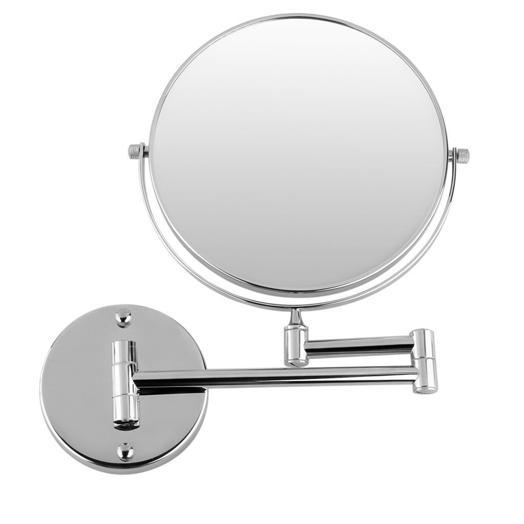 bathroom mirror - TOOGOO(R) Chrome Round Extending 8 inches cosmetic wall mounted make up mirror shaving bathroom mirror 3x Magnification 059457