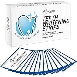 MayBeau 40Pcs Teeth Whitening Strips Peroxide-Free 3D Whitestrips No Sensitivity Professional Effect Whitening Strips,Remove Stains and Whitening in 30 Mins