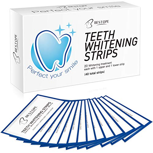Teeth Whitening Strips,MayBeau 40Pcs Teeth Whitening Kit, Peroxide-Free 3D Whitestrips No Sensitivity Home Tooth Bleaching for Tooth Whitening 28 Days Treatment